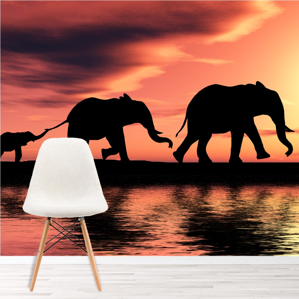 Elephant Family Savannah African Safari Animal Wall Mural Nature Photo Wallpaper