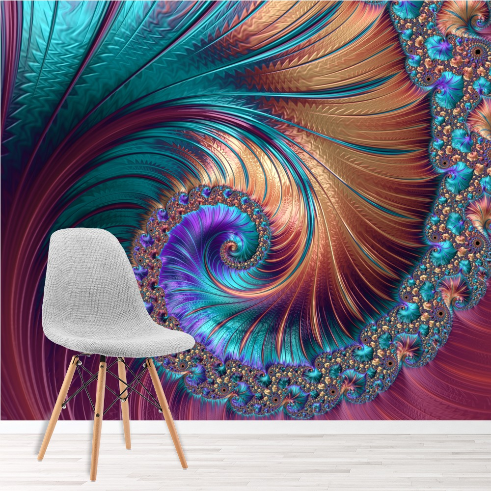Pink Swirl Wall Mural Blue Spiral 3D Photo Wallpaper