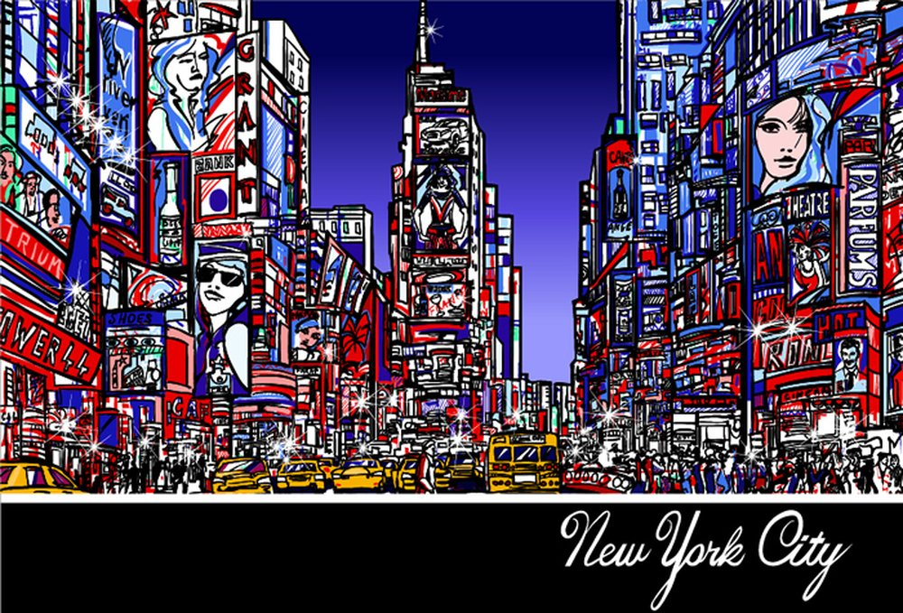 Times Square Art New York City Skyline Wall Mural Travel Photo Wallpaper