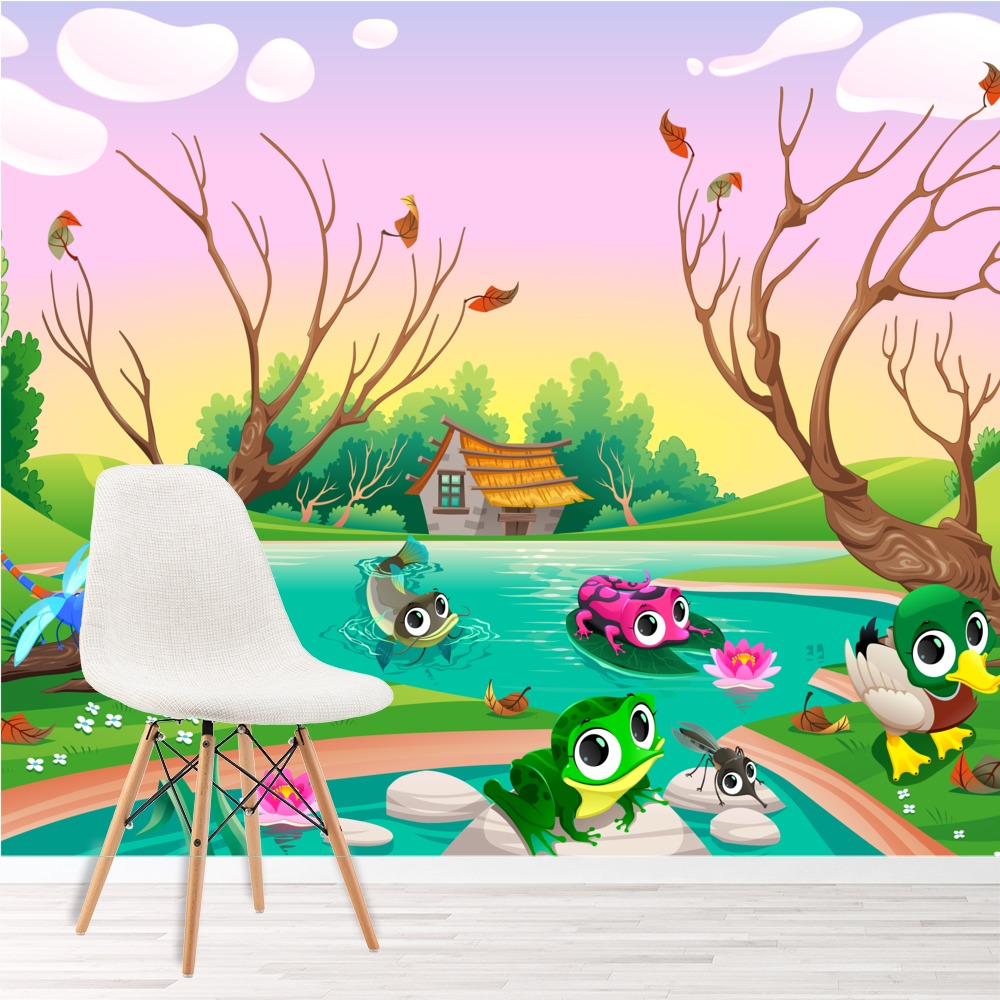 Cute animals in pond frog duck bird cartoon wall mural for Duck pond mural