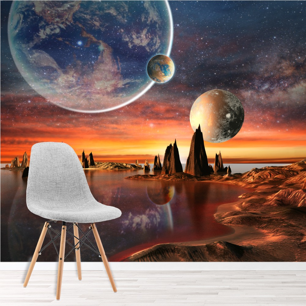 Alien landscape planet with earth moon space wall for Earth rising wall mural