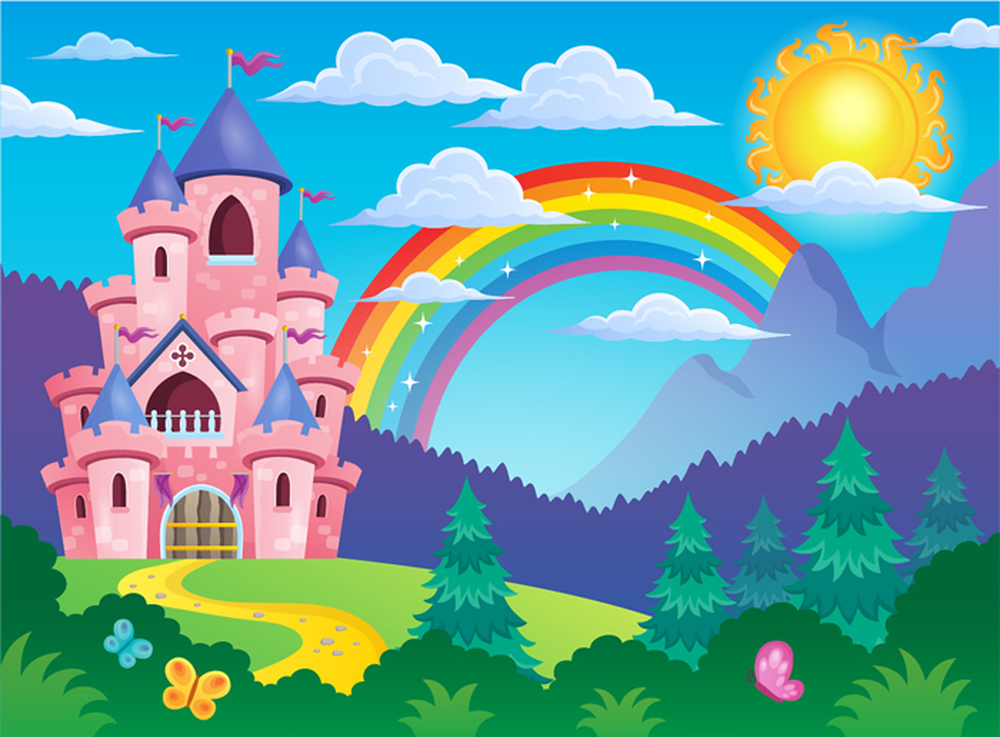 Pink Princess Castle Cartoon & Rainbow Fairytale Wall Mural kids Photo Wallpaper
