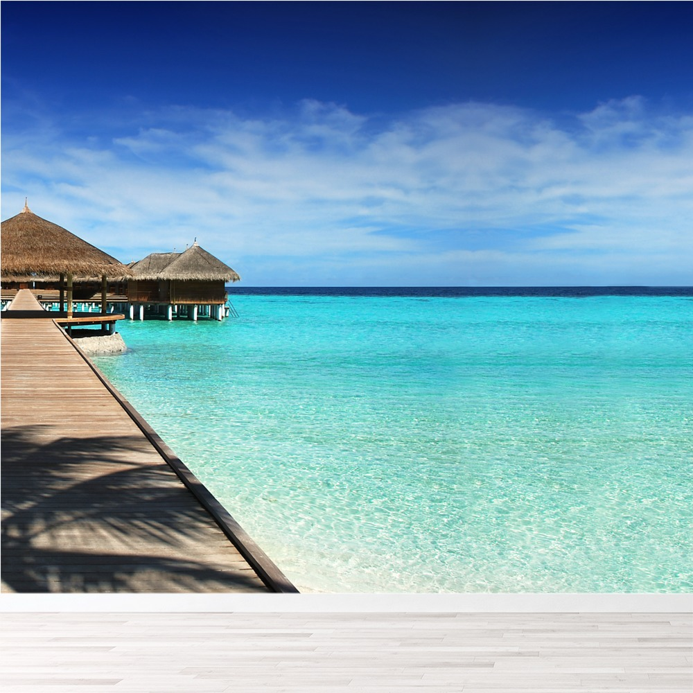 Beach Hut & Yacht Maldives Paradise Beach Wall Mural Travel Photo Wallpaper