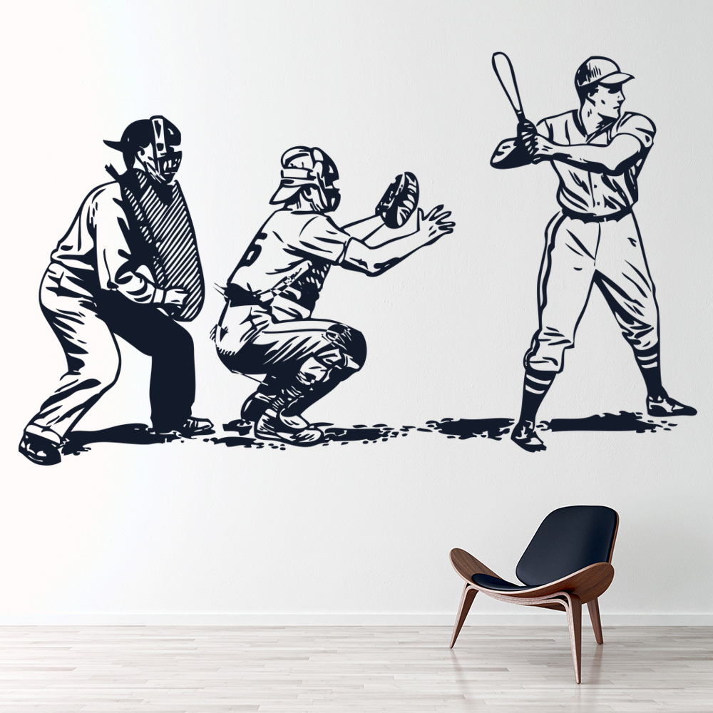 Baseball Game Batsman Ball America USA Wall Stickers Sports Gym Decor Art Decals