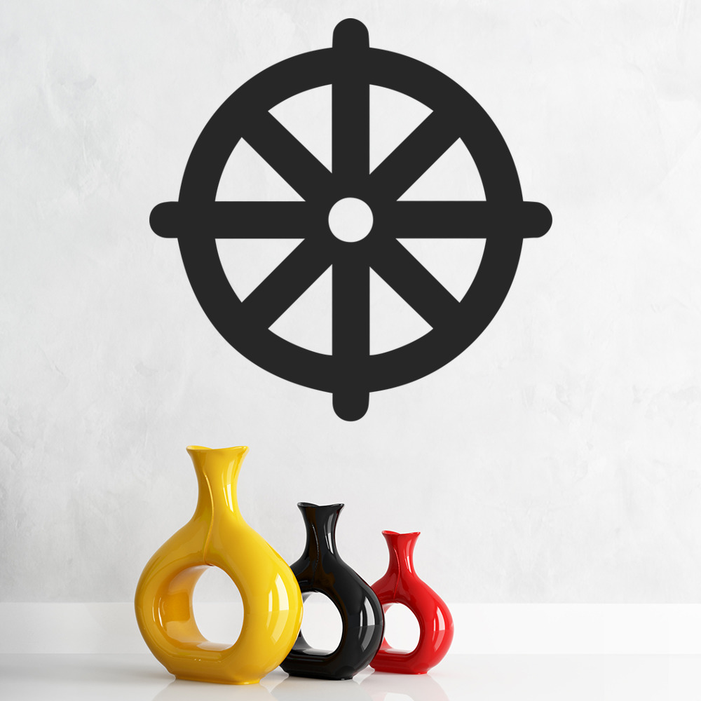 buddhism wall sticker wheel of dharma wall decal religion home decor