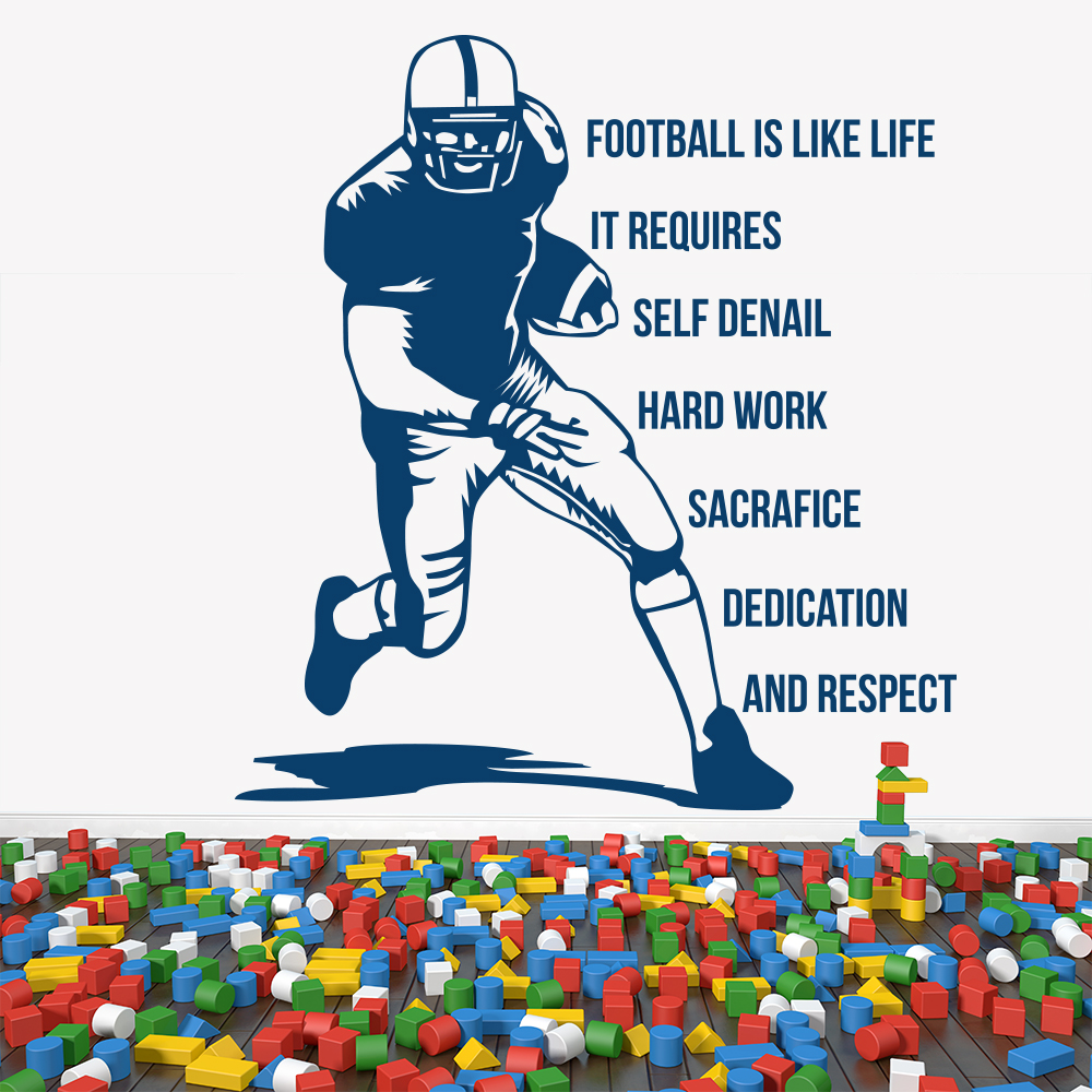 American Football Is Like Life Sports Quotes Wall Sticker Home Art Decals Decor