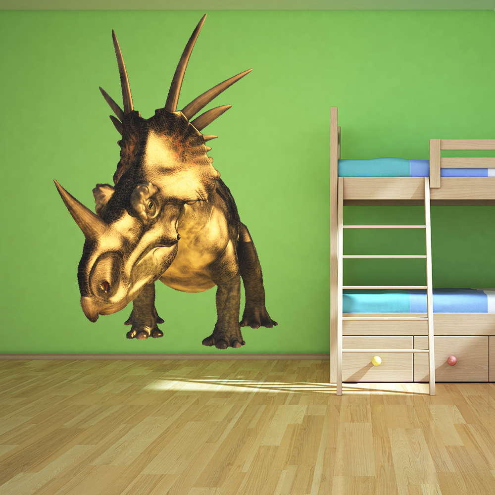 Triceratops Dinosaur Wall Sticker Kids Room Jurassic Decal Boys Bedroom Decor
