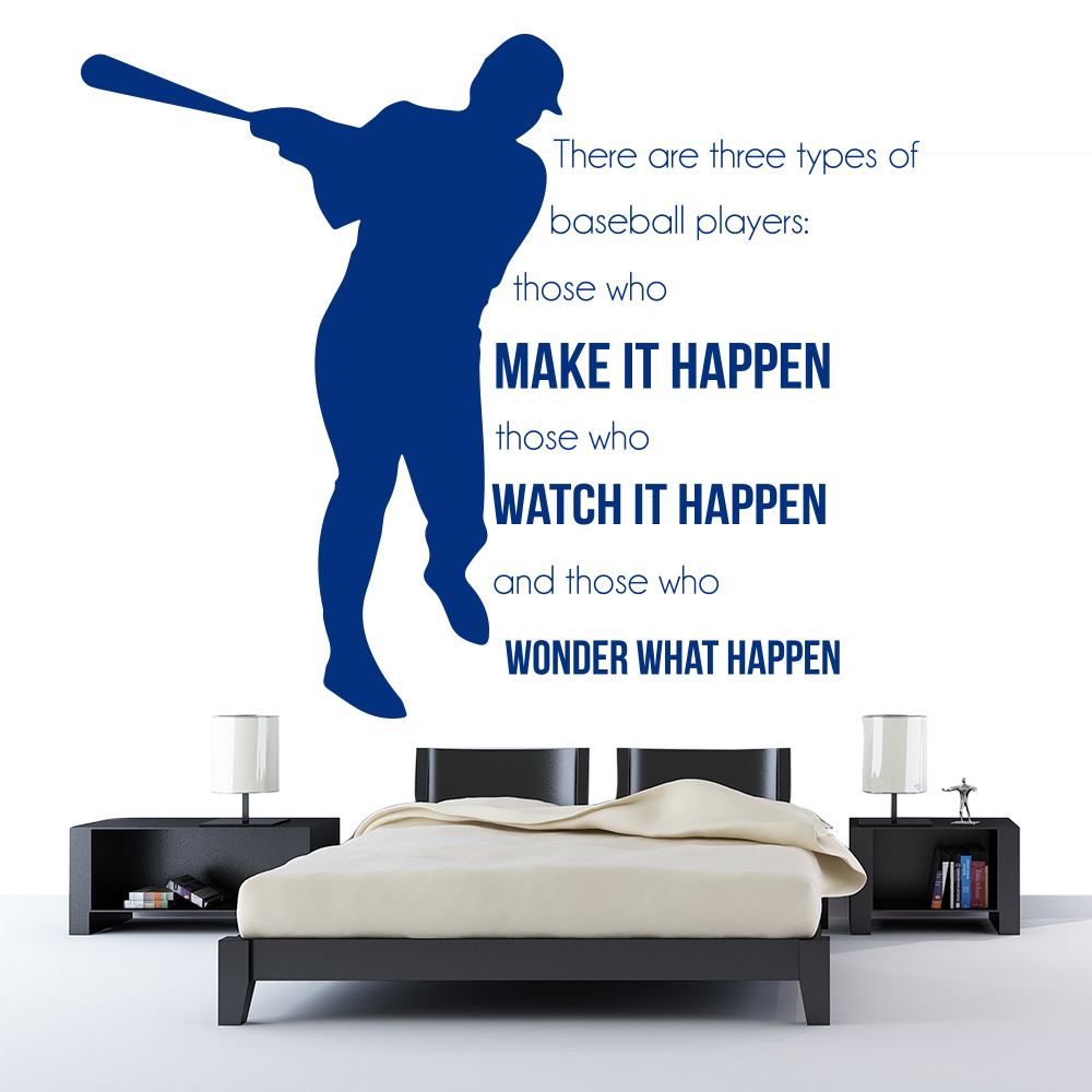 Three Types Of Players Wall Sticker Baseball Quote Wall Decal Sports Decor