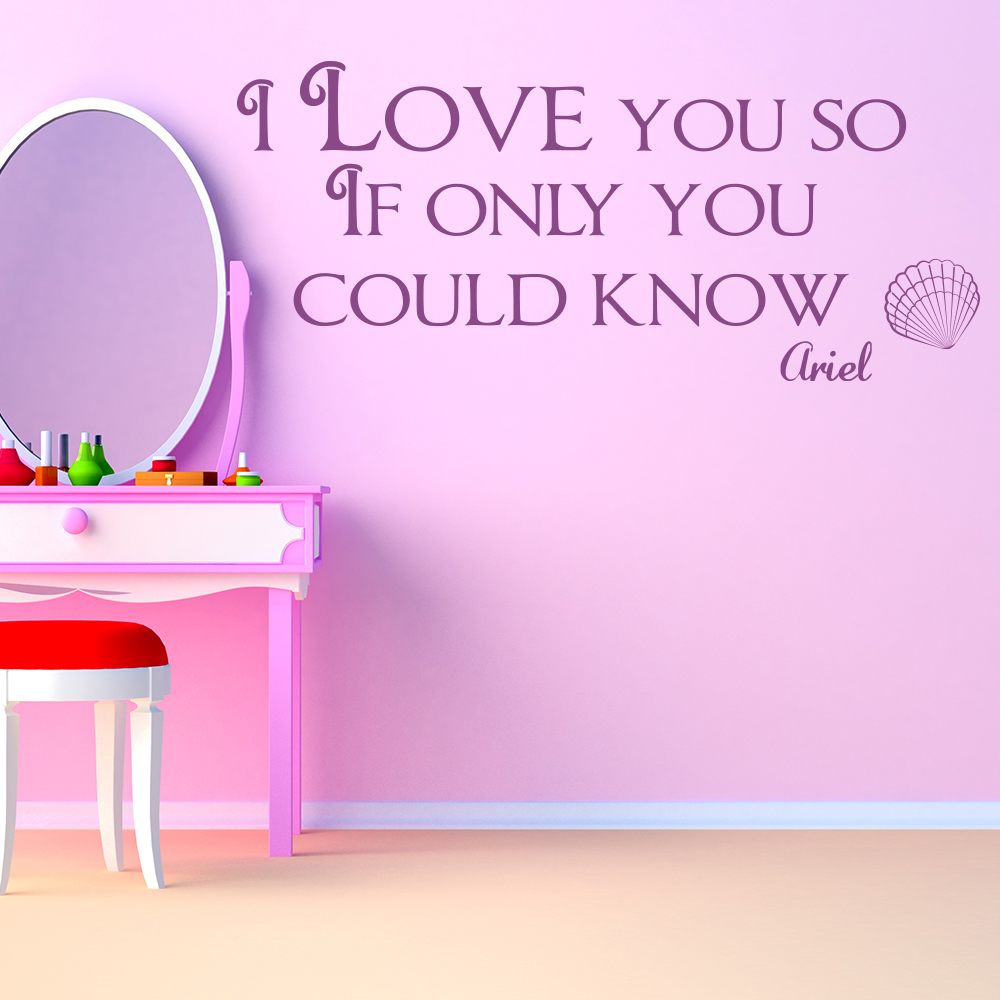 I Love You So Ariel The Little Mermaid Wall Stickers kids Home Art Decals