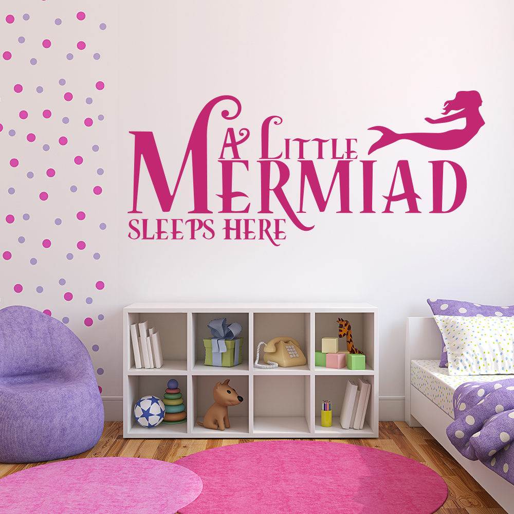 A Little Mermaid Sleeps Here kids Under The Sea Wall Sticker Home Art Decal