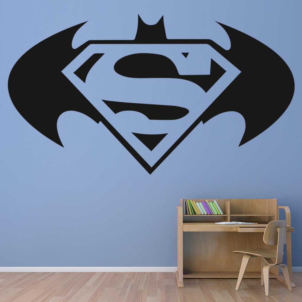 Marvelous Batman V Superman Wall Sticker Superhero Logo Wall Decal Boys Bedroom Home  Decor