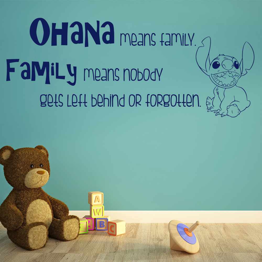 Lilo And Stich Quote Ohana Means Family TV & Film Wall Stickers Kids Art Decals