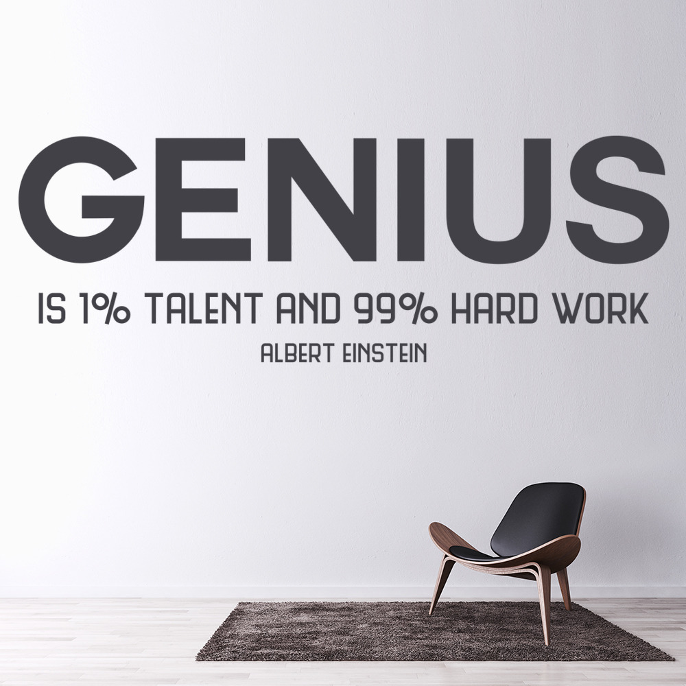 Genius Wall Sticker Albert Einstein Quote Wall Decal Motivational ...