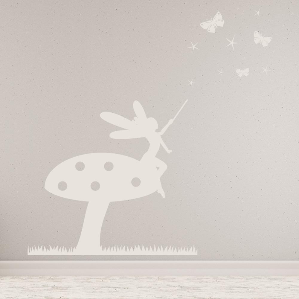 Toadstool Fairy Wall Sticker Scene Fantasy Wall Decal Girls Room Nursery Decor