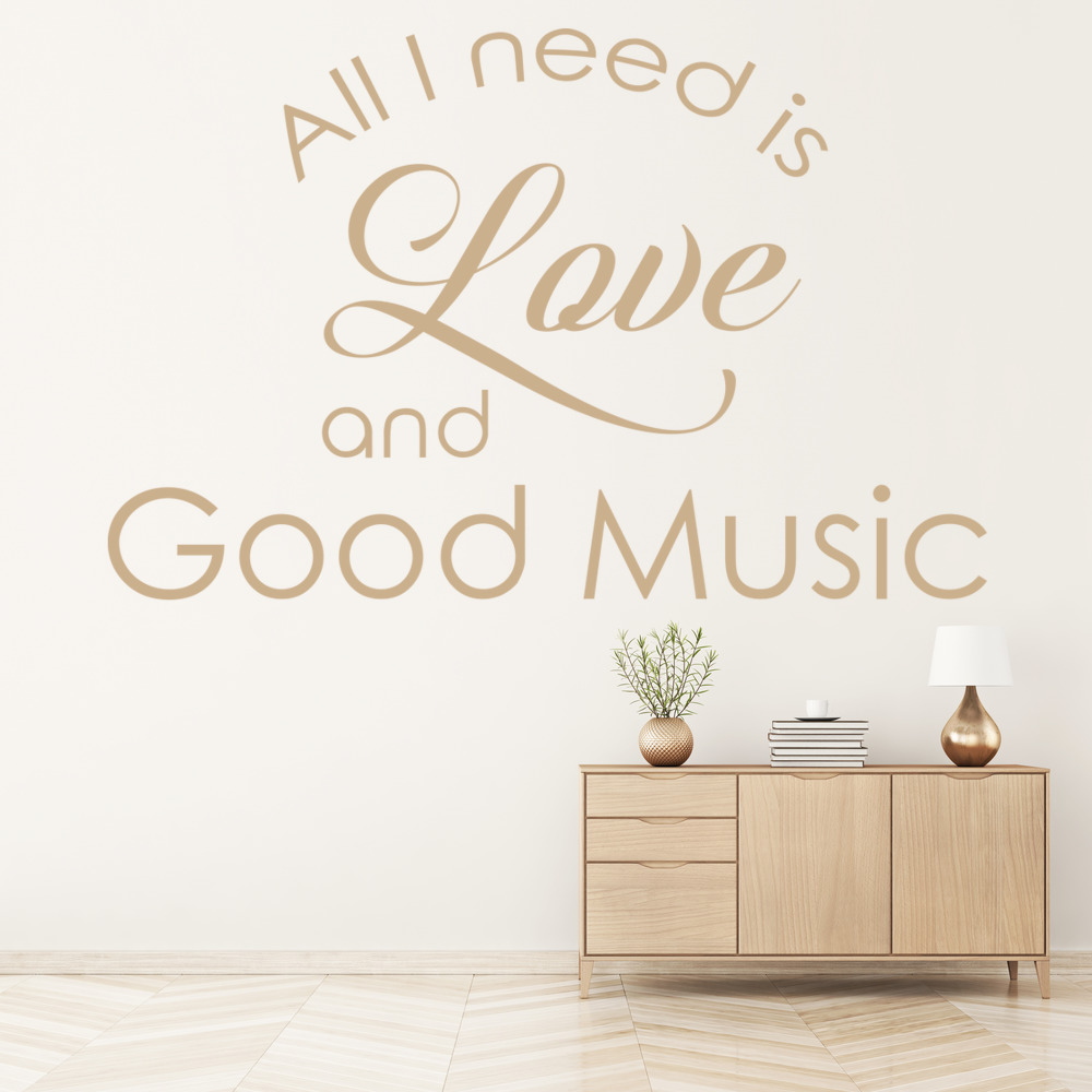 Love And Good Music Wall Sticker Inspirational Quote Wall Decal Bedroom Decor