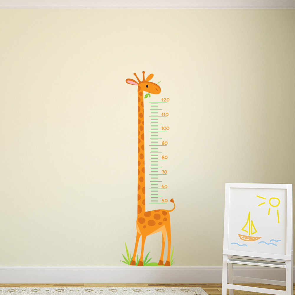 Giraffe Height Chart kids Cartoon Colour Wall Stickers Bedroom Art Decals