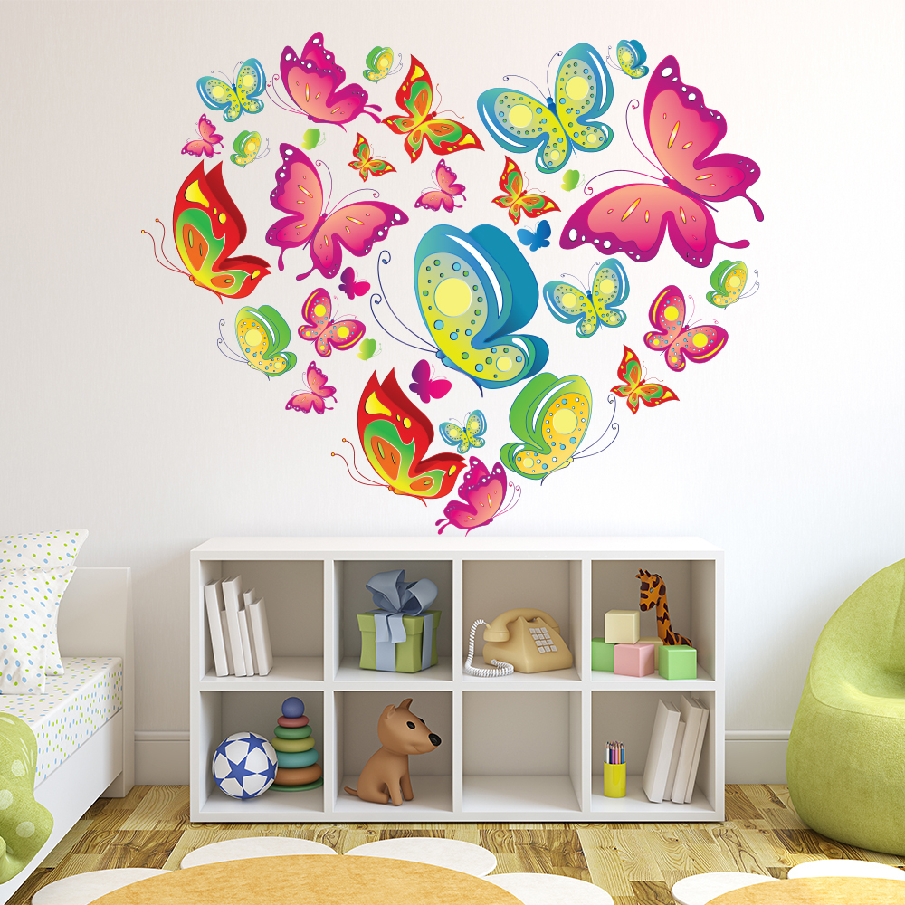 Colourful Butterfly Heart Animals & Insects Colour Wall Sticker Kids Art Decal
