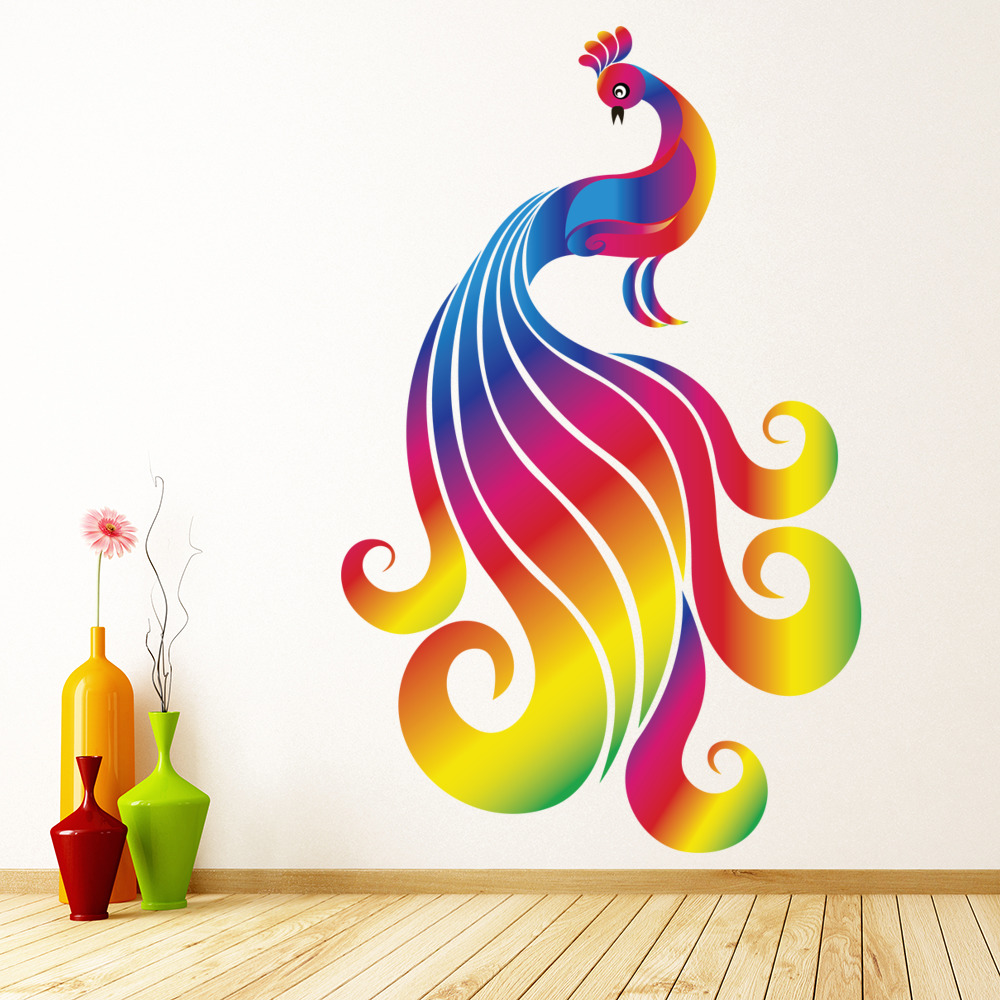 Bright Rainbow Peacock Wall Sticker Birds Wall Decal Girls