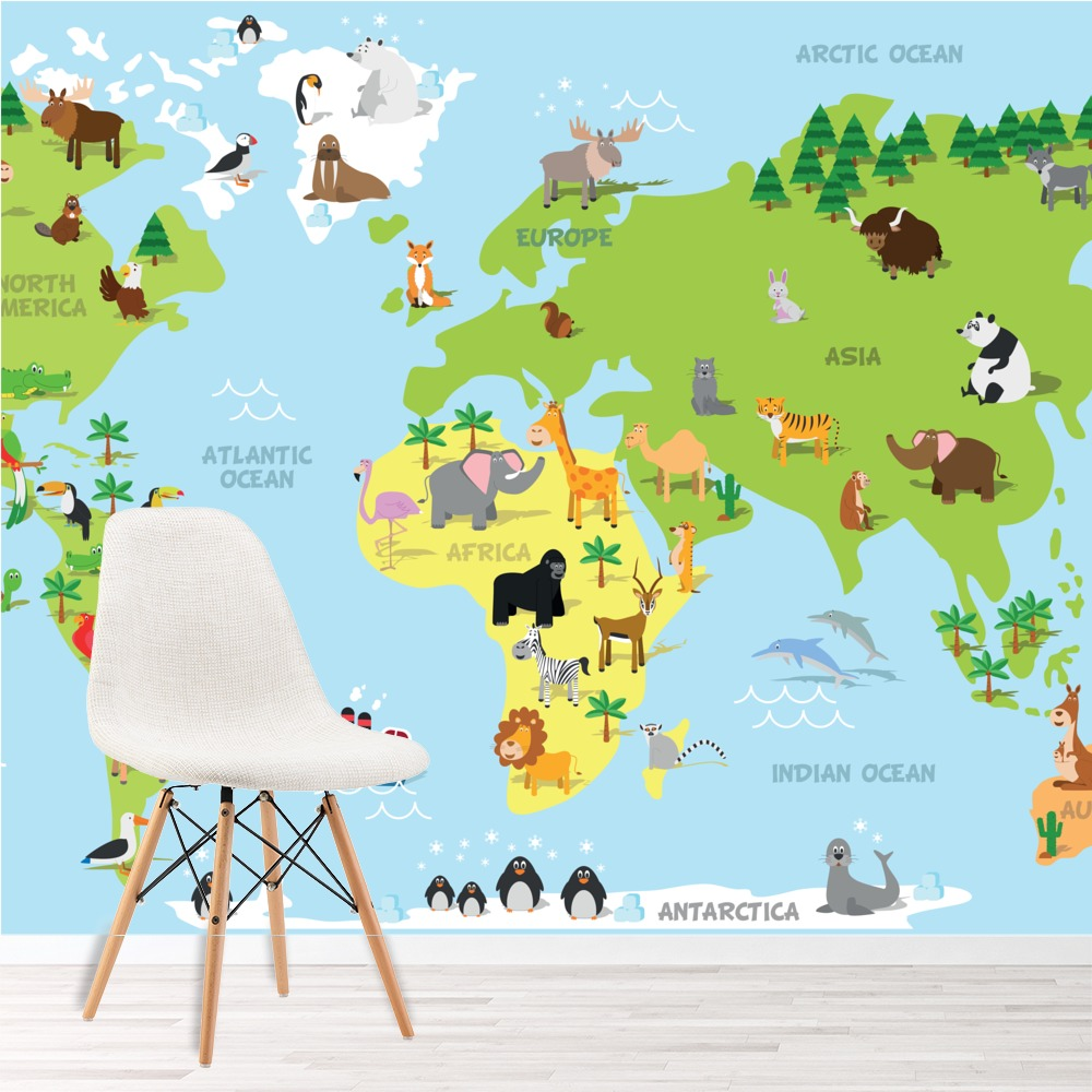 Animal World Map Educational Wall Mural Wallpaper