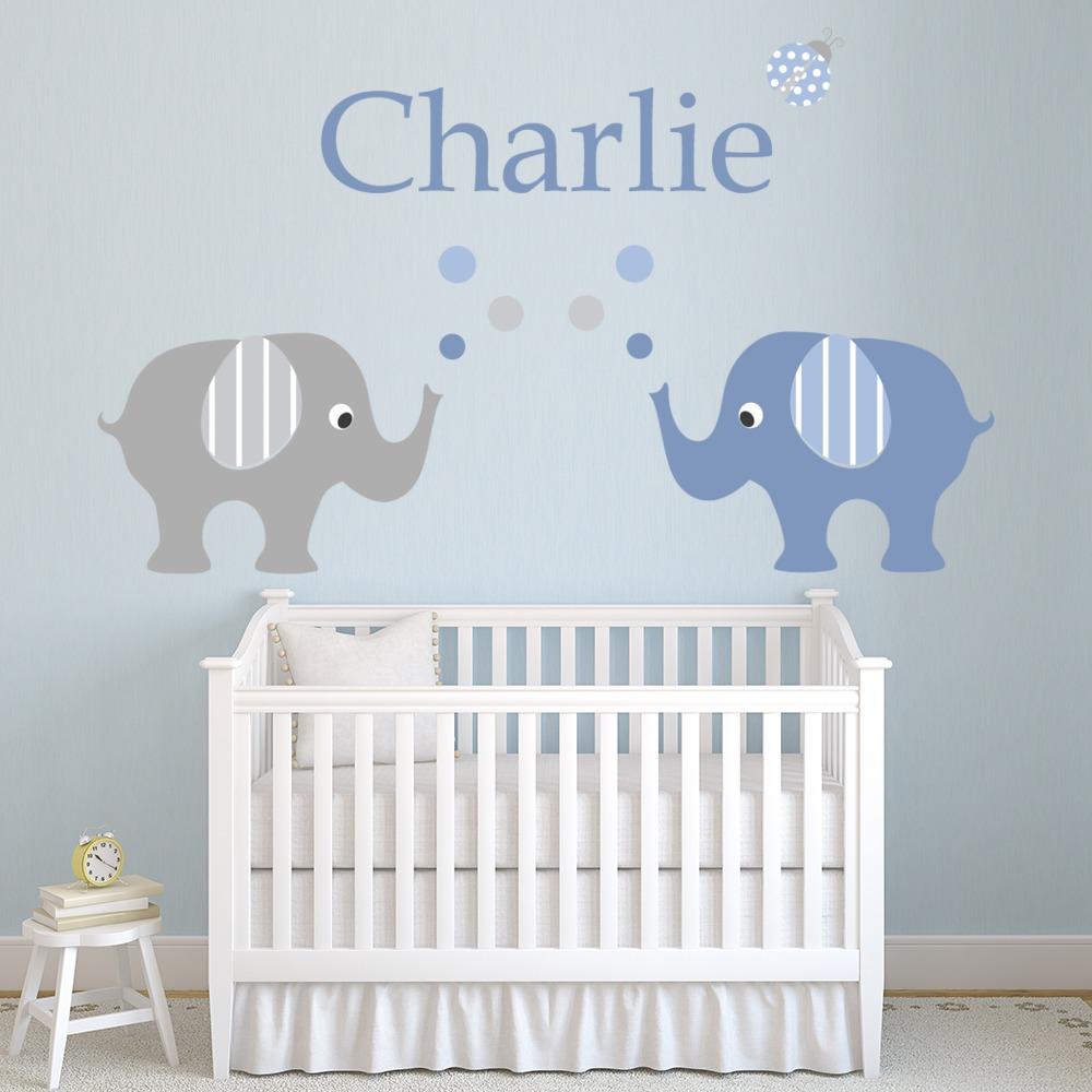Girls Room Wall Art Decor Elephant Nursery Wall Sticker Three Elephants Decal