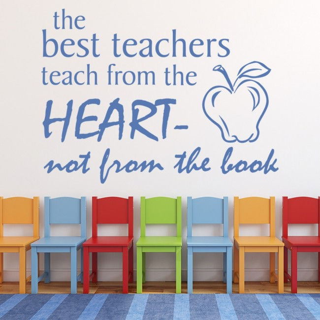 Classroom Wall Decorations For Teachers ~ The best teachers teach wall sticker teacher quote