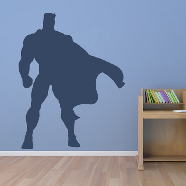 Superhero Cape Silhouette Superheroes Wall Stickers Childrens - Superhero wall decals uk