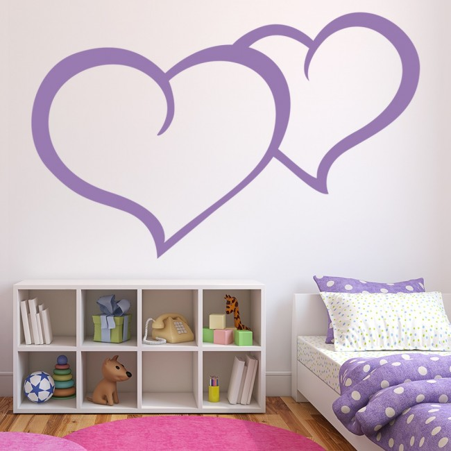 Two Love Hearts Wall Sticker Girls Bedroom Wall Decal Valentines Home Decor