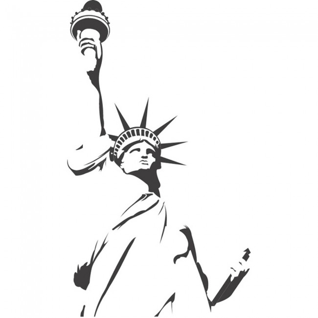 Statue of liberty outline wall sticker landmark wall art for Statue of liberty drawing template