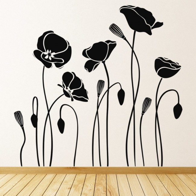 Poppy Flowers Wall Sticker Floral Wall Decal Living Room Kitchen Home Decor  sc 1 st  Icon Wall Stickers & Poppy Flowers Wall Sticker Flowers Wall Art