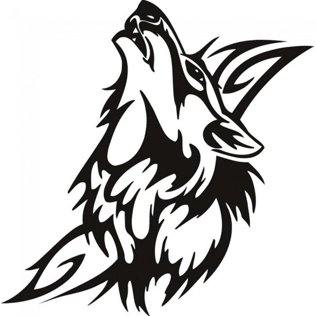 Tribal Wolf Wallpaper: Howling Wolf Tribal Wall Sticker