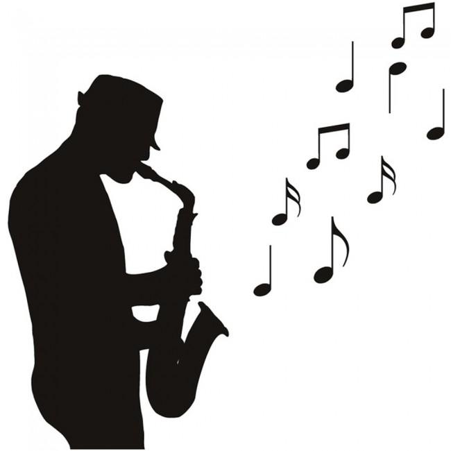Saxophone Player Wall Sticker Jazz Music Wall Decal Bar