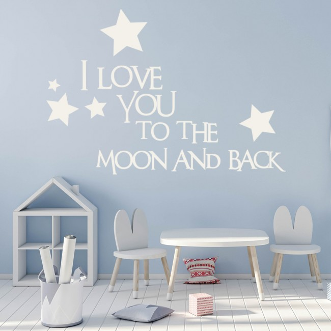 I Love You Quotes: I Love You To The Moon And Back Wall Sticker Love Quote