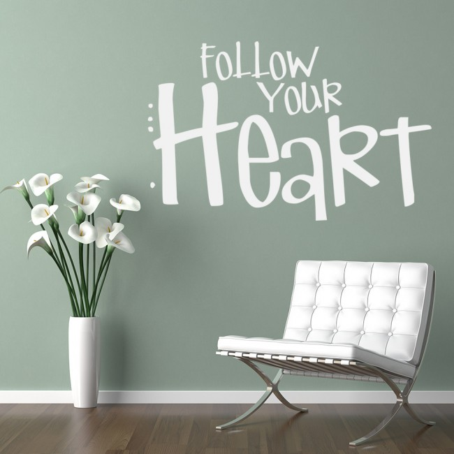 Love Quotes Wall Decals Brilliant Follow Your Heart Wall Sticker Love Quote Wall Art