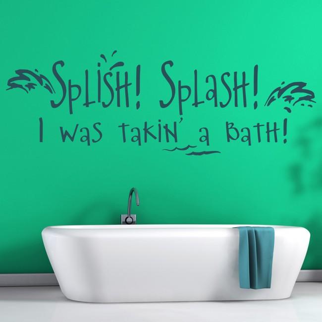 Splish splash wall sticker bathroom quote wall decal kids bathroom home decor