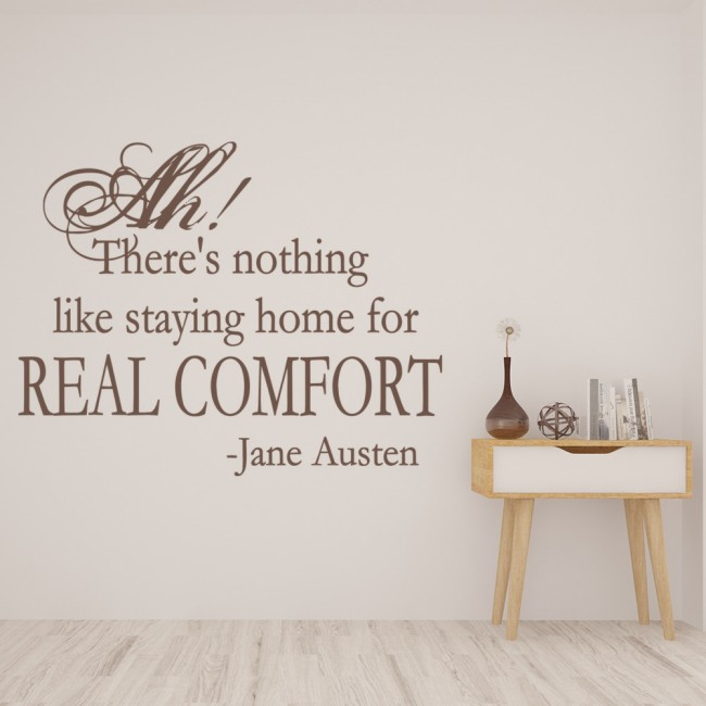 There Is Nothing Like Home Quotes: Real Comfort Wall Sticker Jane Austen Quote Wall Decal