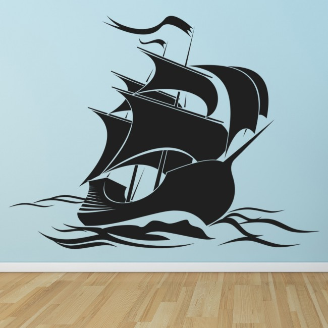 Pirate Ship Sailing Silhouette Boats Wall Sticker Bathroom Home - Decals for boats uk