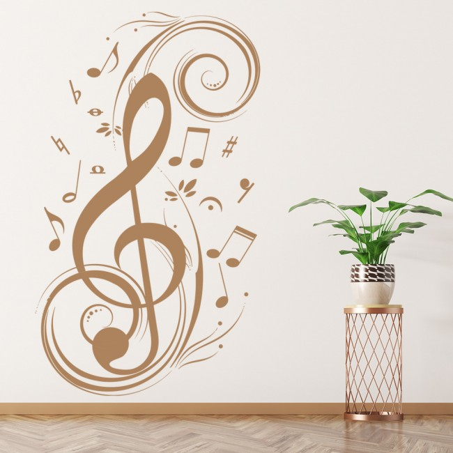 Treble Clef Wall Sticker Musical Notes Wall Decal Music