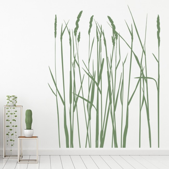 long grass flowers trees wall sticker - floral - decor