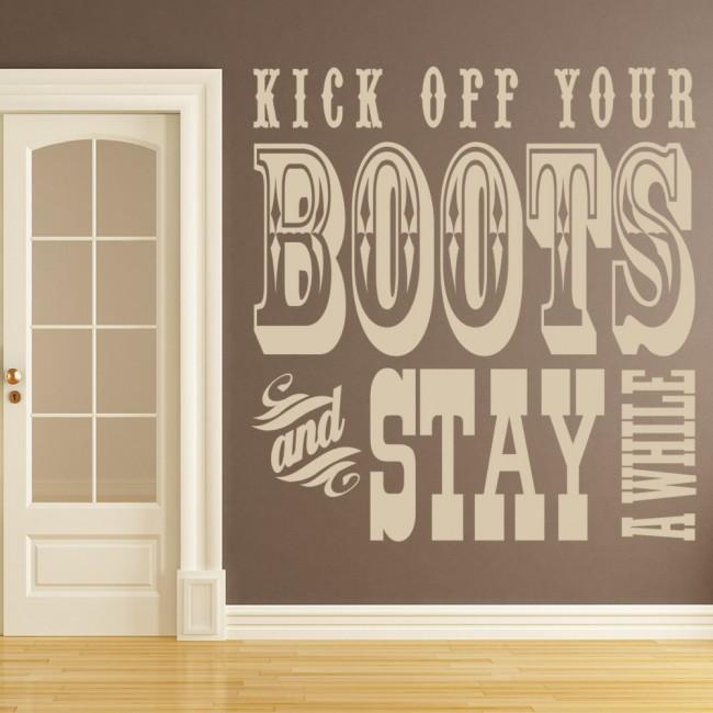 kick off your boots wall sticker cowboy wall art