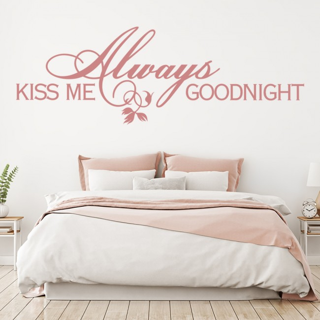 Always Kiss Me Goodnight Wall Sticker Love Quote Wall Decal ...