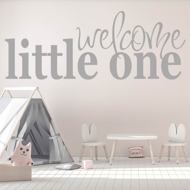 Welcome Little One Wall Sticker Baby Quotes Decal Nursery Home Decor