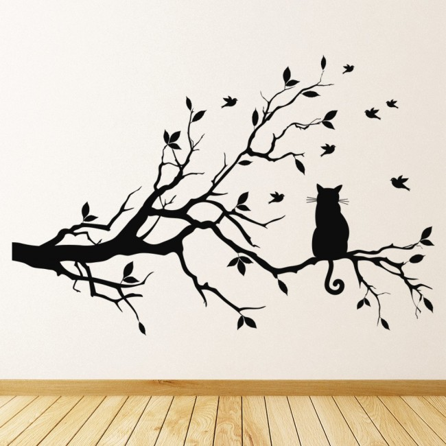 WS-17134-01.jpg  sc 1 st  Icon Wall Stickers & Black Cat Wall Sticker Tree Branch Wall Decal Living Room Kitchen ...