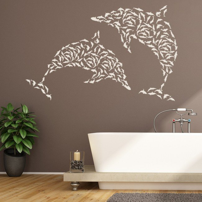 Dolphin Wall Sticker Set Under The Sea Wall Decal Kids Bathroom Home
