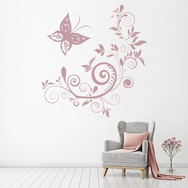 butterfly swirls floral wall sticker
