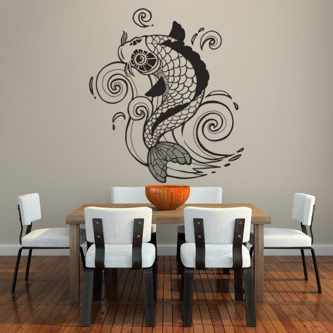 Koi carp fish wall sticker fishing wall decal food kitchen for Koi fish wall stickers
