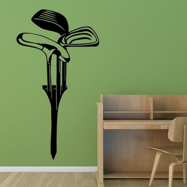 Golf Tee Wall Sticker Golf Clubs Wall Decal Sports Bedroom ...