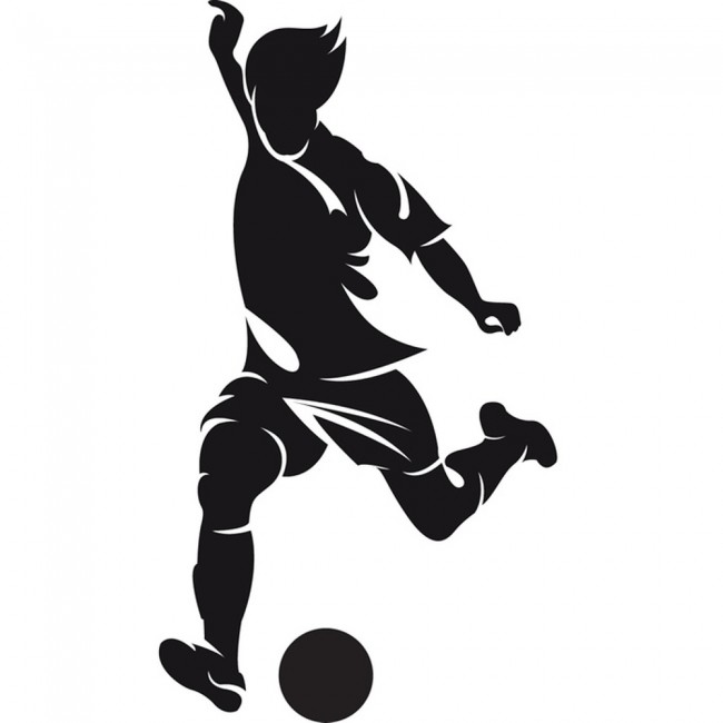 Football Player Wall Sticker Striker Wall Decal Boys Bedroom Home Decor