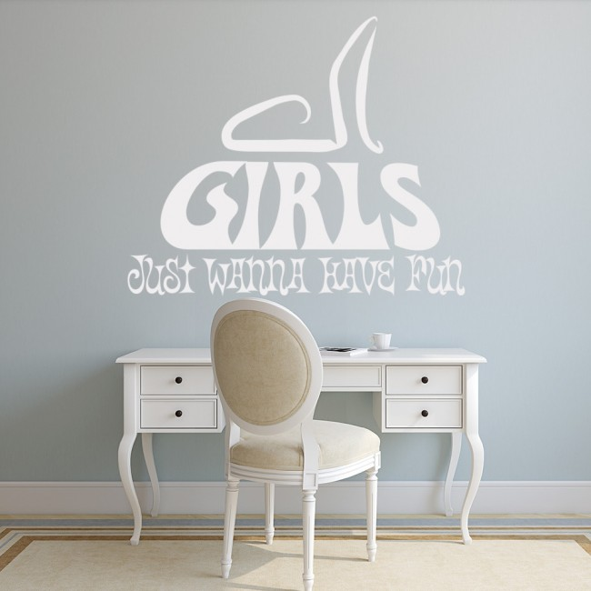 WS-17717-01.jpg & Girls Just Wanna Have Fun Wall Sticker Cyndi Lauper Wall Decal Teen ...