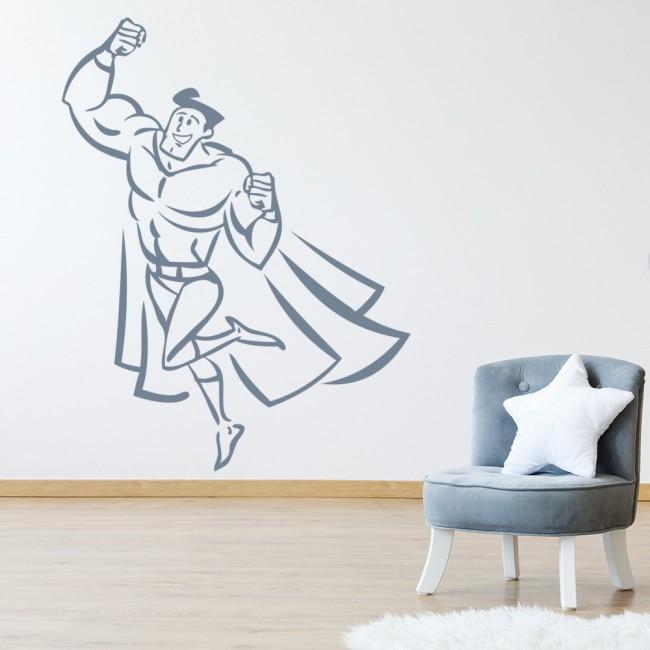 Superhero Wall Sticker Childrens Wall Decal Boys Bedroom Home Decor