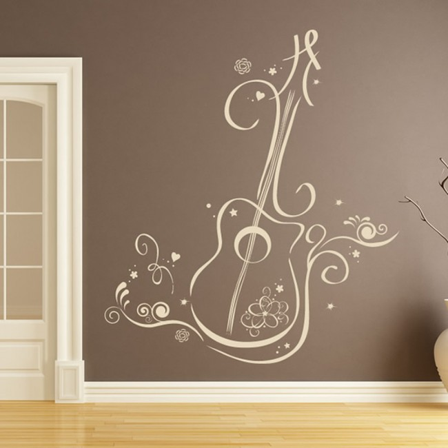 Floral Guitar Wall Sticker Musical Instruments Wall Decal